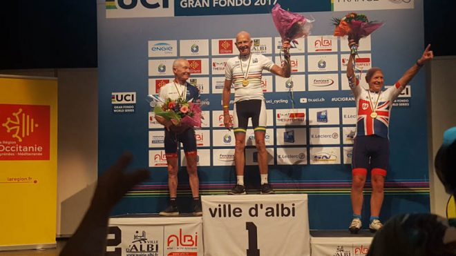On top of the podium at Albi Gran Fondo Championships