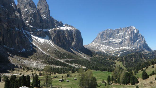 Sella Ronda Towers dolomites cycling