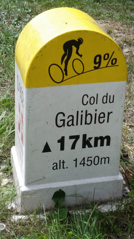 col du galibier road sign marker
