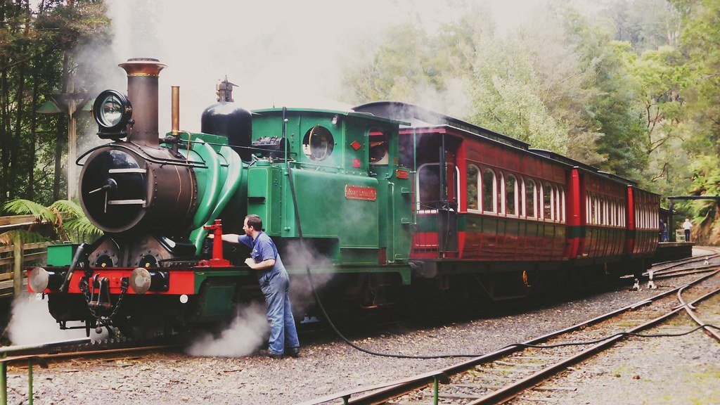 West Coast Wilderness Railway loco and carriages